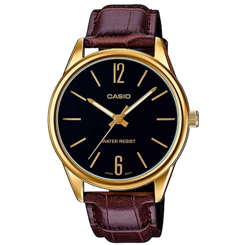 Casio MTP-V005GL-1BUDF Men's Black Dial  Brown Leather Medium Watch