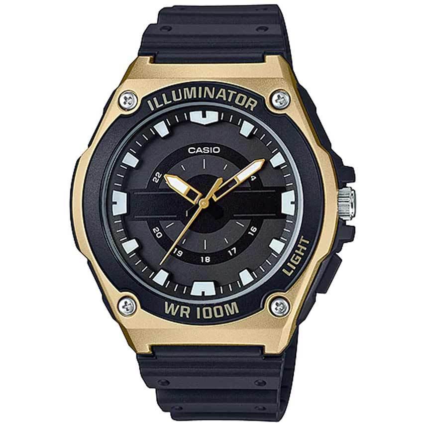 Casio MWC100H-9AV Men's Illuminator Analog Quartz Gold Bezel Watch