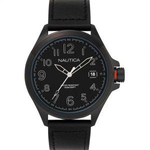 Nautica NAPGLP004 Men's Glen Park Analog Black Leather Watch
