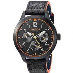 Nautica NAPNRL002 Men's Norland  Multi-Function Black Leather Watch