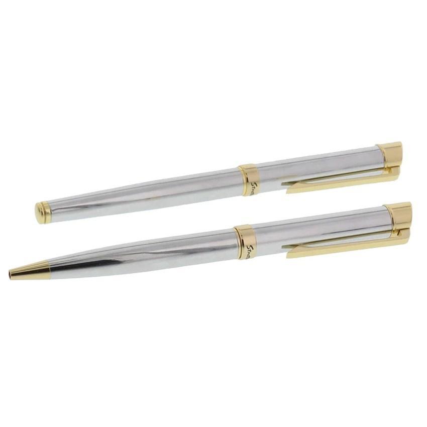 Stratton ST1004 Ball Point & Roller Ball Pen Set - Silver & Gold