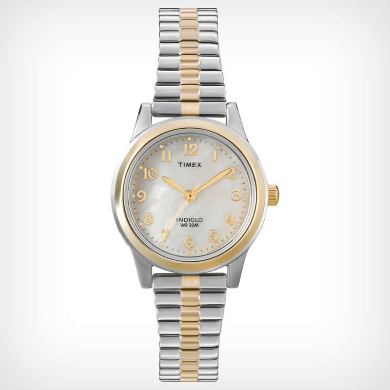 Timex T2M828 Women's Classic Two-Tone Expansion Band Medium Size Watch