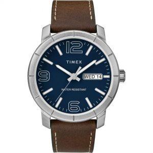 Timex T2R642 Men's Mod 44 Brown Leather Dress Watch