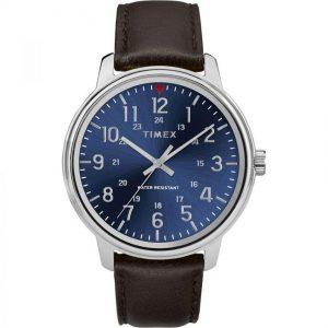 Timex T2R854 Men's Metropolitan Blue Dial Dark Brown Leather Watch