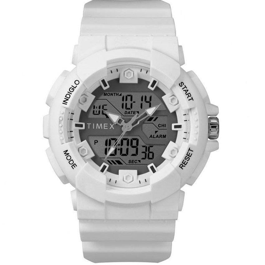 Timex T5M224 Men's Marathon Dual Display White Silicone Watch