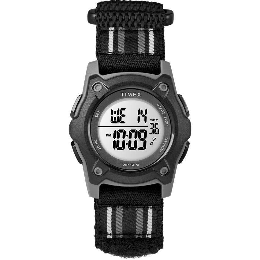 Timex T7C264 Time Machine Kid's Digital Double Layer Fabric Black,Gray Watch