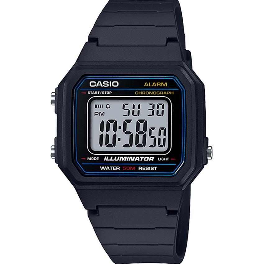 Casio W217H-1AV Men's Classic Chronograph Digital Resin Small Watch