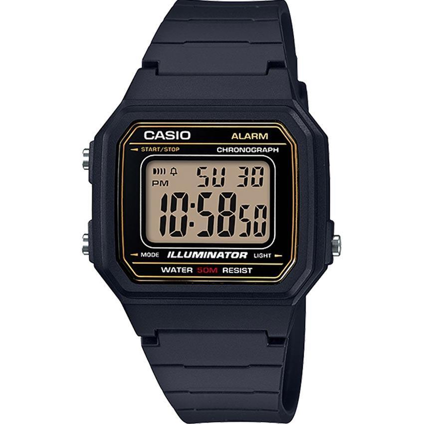 Casio W217H-9AV Men's Classic Chronograph Digital Gold Dial Small Watch