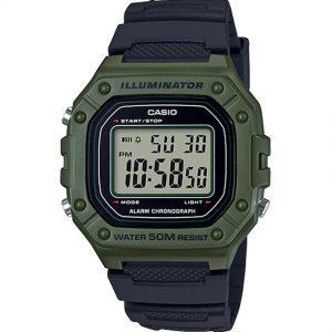 Casio W218H-3AV Men's Chronograph Green Case Digital Medium Watch